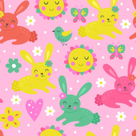 Seamless pattern for Easter holiday and spring with cute bunny. Childish background for fabric, wrapping paper, textile, wallpaper and apparel. Ilustrace