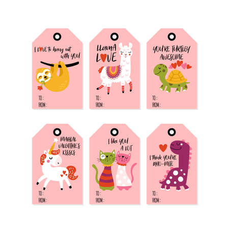 Valentines day cute animals in love gift tag set  Childish print for cards, stickers, apparel and nursery decoration