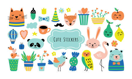Spring season cute elements set. Childish print for cards, stickers, apparel and nursery decoration