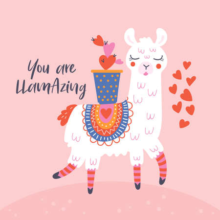 Valentines day cute  llama greeting card.  Childish print for cards, stickers, apparel and nursery decoration