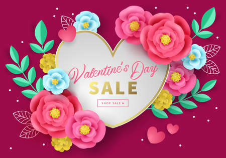 Valentines day sale banner template for social media advertising, invitation or poster design with paper art flowers background. Vector illustration Ilustrace