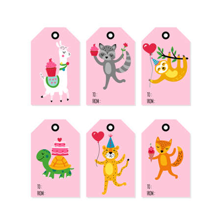 Valentines day gift tag set with cute animals: llama, sloth, fox, raccoon, tiger and turtle  Childish print Ilustrace