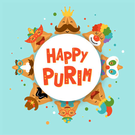 Purim holiday cute hamantaschen cookies funny cartoon characters banner design. Childish print for cards, invitations and stickers. Ilustrace