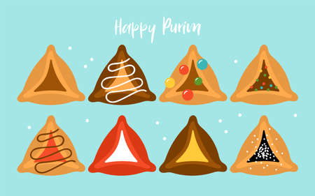 Purim holiday cute hamantaschen cookies set. Childish print for cards, invitations and stickers.