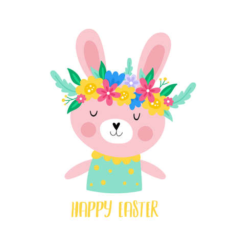 Easter holiday  cute  bunny character with spring flowers. Childish print for cards, stickers, apparel and nursery decoration Illustration