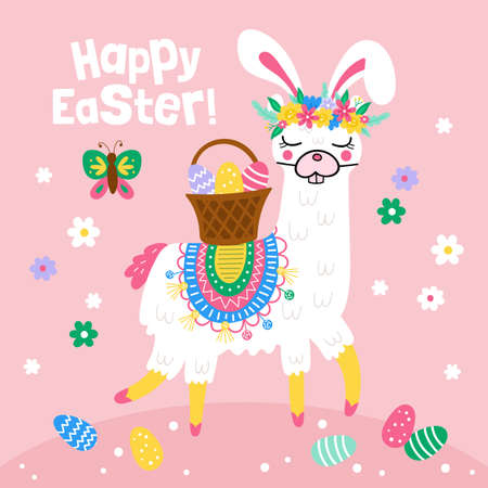 Easter holiday greeting card with cute  llama character in Easter bunny costume. Childish print for cards, stickers, apparel and nursery decoration