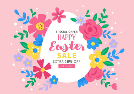 Easter holiday cute sale banner design. Childish print for cards, invitation and templates Ilustrace