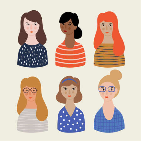 Women cute avatar and portrait set. Childish print for cards, templates, stickers and banners.