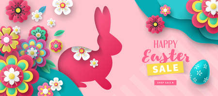Easter holiday sale banner design with paper cut flowers , bunny and easter eggs background. Vector illustration Ilustrace