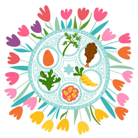 Passover holiday cute traditional seder plate and spring flowers. Childish print for cards, invitations and banners.