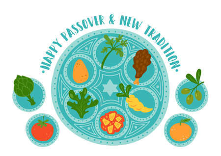 Passover holiday cute traditional seder plate with new tradition. Childish print for cards, invitations and stickers.