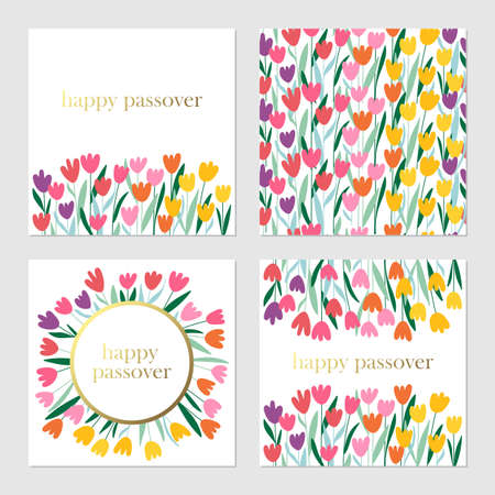 Passover holiday cute greeting cards set with spring flowers background. Springtime concept. Childish print for cards, invitations and banners.