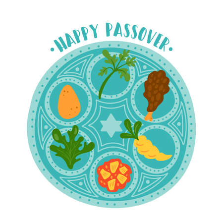 Passover holiday cute traditional seder plate. Childish print for cards, invitations and stickers. Illustration
