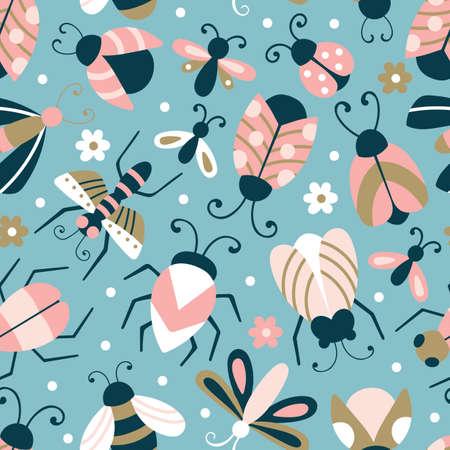 Nahtloses Muster mit niedlichen Wanzen und Käfern. Kindlicher Hintergrund für Stoff, Geschenkpapier, Textilien, Tapeten und Kleidung