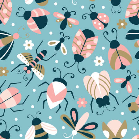 Seamless pattern with cute bugs and beetles. Childish background for fabric, wrapping paper, textile, wallpaper and apparel Ilustrace