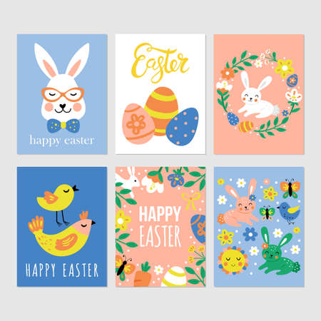 Easter holiday cute greeting cards set with bunny, flowers and Easter eggs. Childish print for cards, stickers and nursery decoration