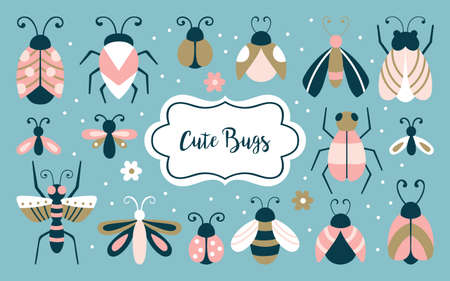 Cute bugs and beetles set. Childish print for cards, stickers, apparel and nursery decoration