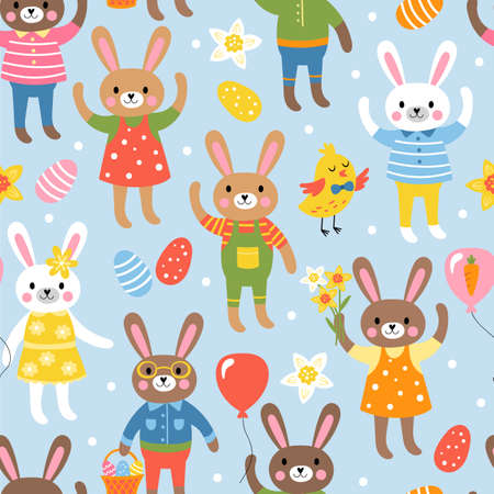 Seamless pattern for Easter with cute bunny characters. Childish background for fabric, wrapping paper, textile, wallpaper and apparel