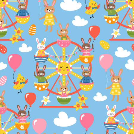 Seamless pattern for Easter with cute bunny characters on ferris wheel. Childish background for fabric, wrapping paper, textile, wallpaper and apparel