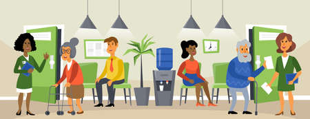 Clinic reception concept with patients  waiting for doctor medical care. Cartoon vector illustration