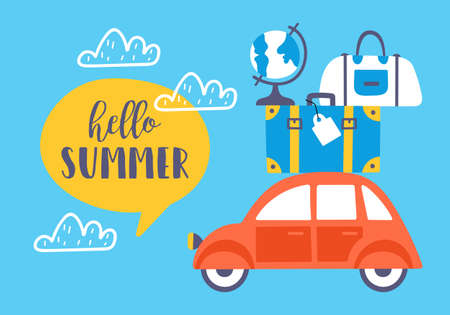 Summer holiday card design with cute car and suitcases. Childish print for cards, stickers, apparel and nursery decoration Ilustrace