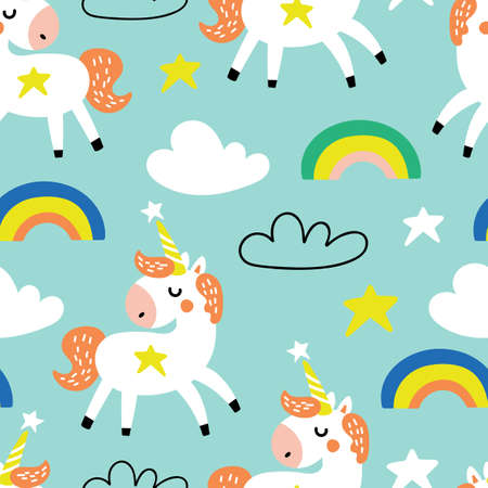Seamless pattern with unicorns and rainbow. Childish background for fabric, wrapping paper, textile, wallpaper and apparel