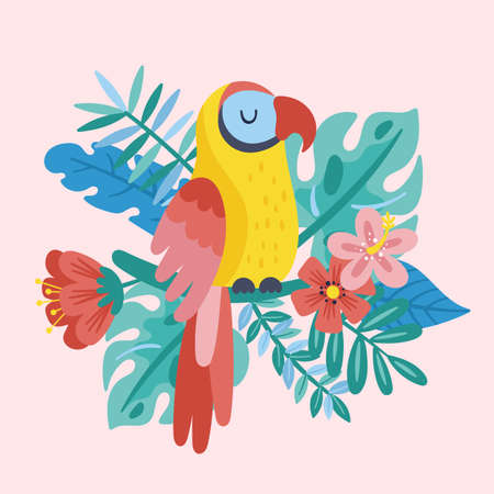 Tropical summer cute parrot, leaves and flowers. Childish print for cards, stickers, apparel and nursery decoration Ilustrace