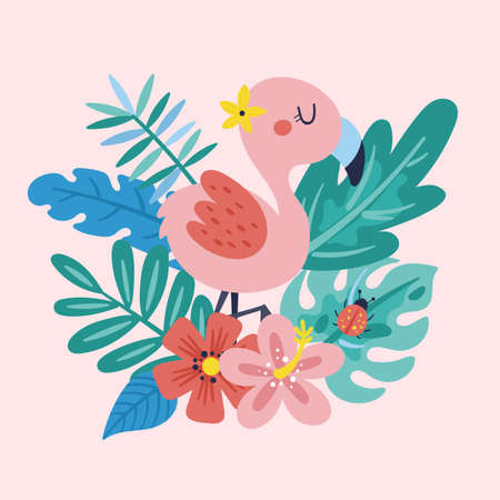 Tropical summer cute flamingo, leaves and flowers. Childish print for cards, stickers, apparel and nursery decoration