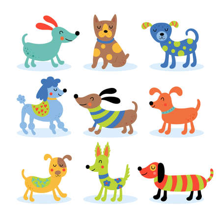 Cute dogs set. Childish print for t-shirt, apparel, cards and nursery decoration