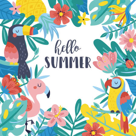 Tropical summer cute background. Childish print for cards, stickers, apparel and nursery decoration