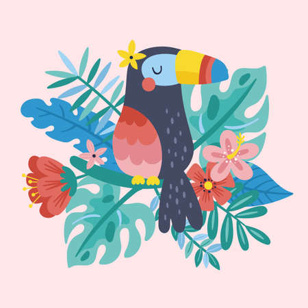 Tropical summer cute toucan, leaves and flowers. Childish print for cards, stickers, apparel and nursery decoration