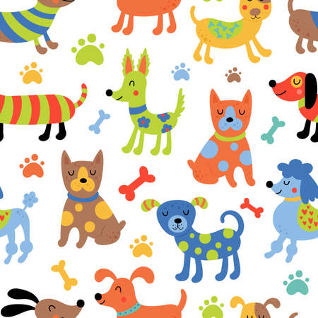 Seamless pattern with cute dogs. Childish background for fabric, wrapping paper, textile, wallpaper and apparel