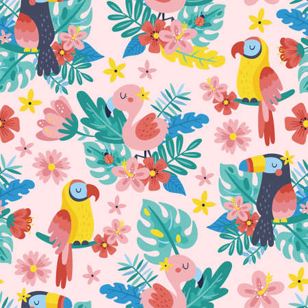 Seamless pattern for summer with tropical birds and floral. Childish background for fabric, wrapping paper, textile, wallpaper and apparel