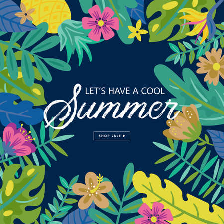Tropical summer cute sale background. Childish print. Ilustrace