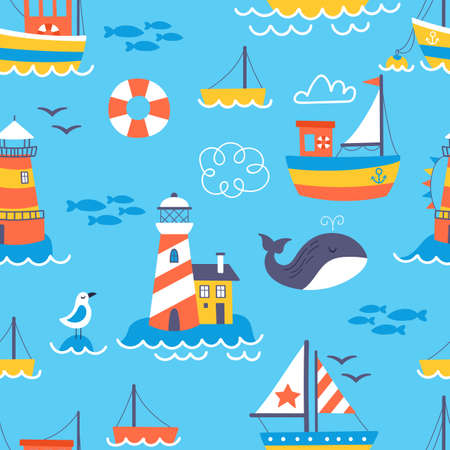 Seamless pattern with cute boats and lighthouse. Childish background for fabric, wrapping paper, textile, wallpaper and apparel Ilustrace