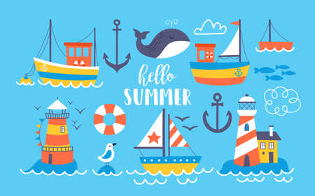 Cute boats and lighthouse summer set. Childish print for cards, stickers, apparel and nursery decoration