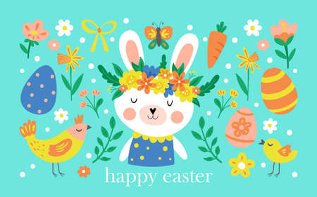 Easter holiday cute elements set with bunny, flowers and Easter eggs. Childish print for cards, stickers, apparel and nursery decoration