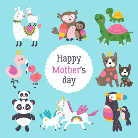Mothers day cute animals set with mother and her child. Childish print for cards, stickers, apparel and nursery decoration