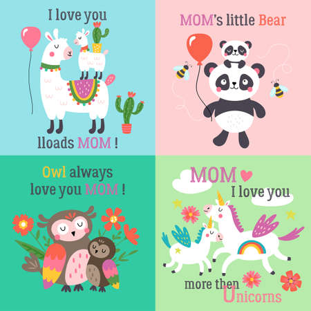 Mothers day cute animals set with llama, unicorn, panda bear and owl. Childish print for cards, stickers, apparel and nursery decoration