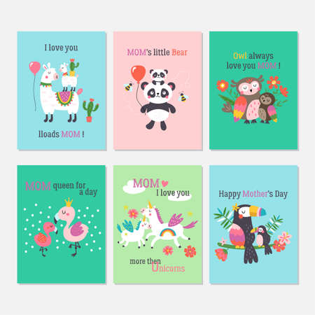 Mothers day greeting card set with cute animals. Childish print for cards, stickers, apparel and nursery decoration