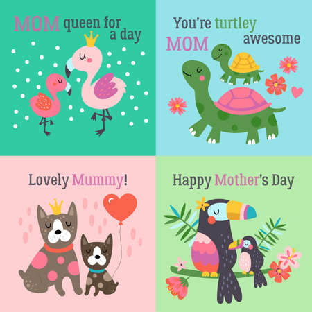 Mothers day cute animals set with flaming, turtle, dog and toucan. Childish print for cards, stickers, apparel and nursery decoration