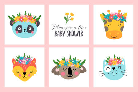 Cute animals heads with flowers set. Childish print for cards, stickers, apparel and nursery decoration Banque d'images - 128086360