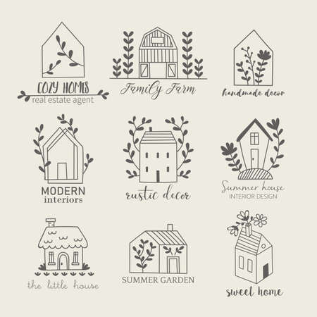 House, home, cottage and farm logo template with hand drawing icons Banque d'images - 128086365
