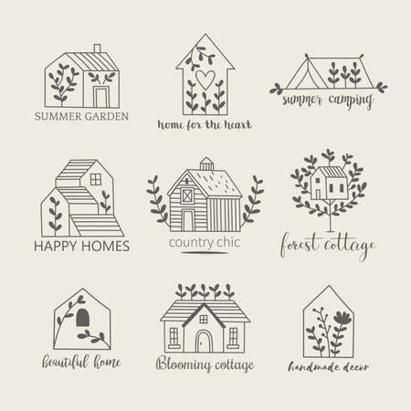 House, home, cottage and farm logo template with hand drawing icons Banque d'images - 128086386