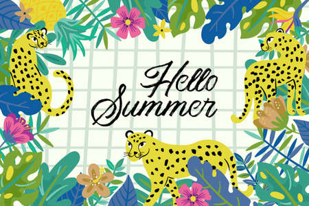 Tropical summer cute leopard with flowers and leaves. Childish print for cards, stickers, apparel and nursery decoration Banque d'images - 128086441