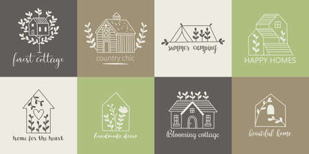 Modello di logo di casa, casa, cottage e fattoria con icone di disegno a mano Logo