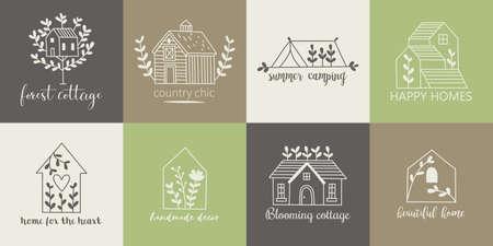 Plantilla de logotipo de casa, hogar, cabaña y granja con iconos de dibujo a mano Logos