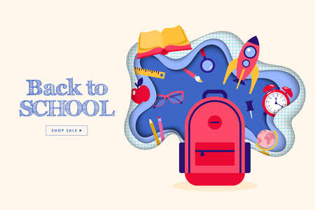Back to school banner design with backpack and school supplies icons Banque d'images - 128446665