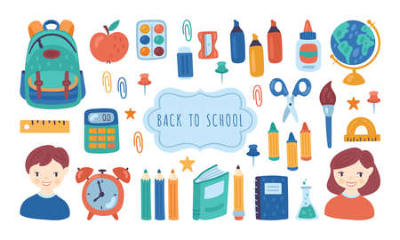 Back to school cute elements set. Childish print for cards, posters, invitations and stickers. Vector Illustration Banque d'images - 128446686