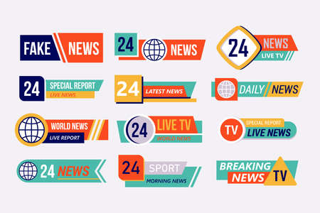 TV broadcasting banner or lower bar design. Live, breaking, fake and special report news screen display template. Banque d'images - 128446689